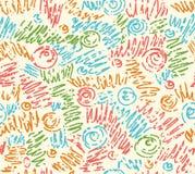 Teste padrão de ondas hand-drawn abstrato sem emenda, ondulado Foto de Stock Royalty Free