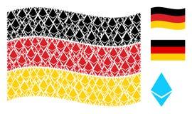 Teste padrão de ondulação da bandeira de Alemanha de Ethereum Crystal Items ilustração stock