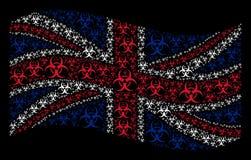 Teste padrão de ondulação da bandeira de Grâ Bretanha de artigos do Biohazard ilustração royalty free