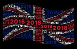 Teste padrão de ondulação da bandeira de Grâ Bretanha de artigos do texto de 2018 anos Ilustração Stock
