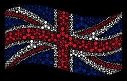 Teste padrão de ondulação da bandeira de Grâ Bretanha do agente de nervo Chemical Warfare Icons de WMD ilustração royalty free