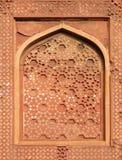 Teste padrão de pedra em uma parede no forte vermelho, Agra Fotos de Stock Royalty Free