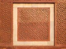 Teste padrão de pedra em uma parede no forte vermelho, Agra Imagem de Stock Royalty Free