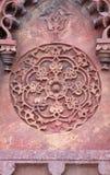 Teste padrão de pedra em uma parede no forte vermelho, Agra Imagens de Stock Royalty Free
