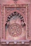 Teste padrão de pedra em uma parede no forte vermelho, Agra Fotografia de Stock Royalty Free