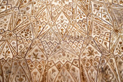 Teste padrão de pedra em uma parede no forte vermelho, Agra Fotografia de Stock