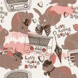Teste padrão de rádio das canções de amor Fotografia de Stock