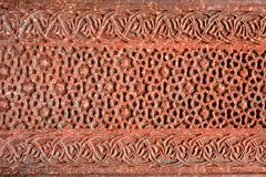 Teste padrão de relevo intrincado do forte vermelho de Agra Imagem de Stock Royalty Free