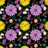 Teste padrão de repetição floral malva e amarelo bonito Fotos de Stock