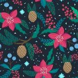 Teste padrão de repetição lunático Tema do Natal e do inverno Plantas, flores vermelhas, pinecones, bagas e ramos Estilo tirado m imagens de stock