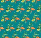Teste padrão de repetição sem emenda de uma variedade de peixes e algas Fotos de Stock Royalty Free