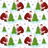 Teste padrão de Santa Clause Christmas Tree Seamless Imagens de Stock Royalty Free