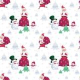 Teste padrão de Santa e de bonecos de neve Imagem de Stock Royalty Free
