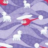 Teste padrão de Santa e do urso polar Imagem de Stock Royalty Free