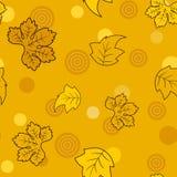 Teste padrão de Seamess com as folhas e círculos dourados da fada Fotos de Stock Royalty Free