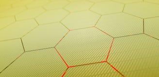Teste padrão de superfície futurista abstrato do hexágono com raios claros Fotos de Stock Royalty Free