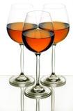 Teste padrão de três vidros de vinho Fotografia de Stock Royalty Free
