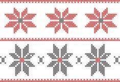 Teste padrão de trabalho da agulha de bordado com beiras e flores Imagens de Stock Royalty Free