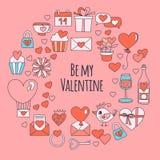 Teste padrão de Valentine Day Vetora com ícones do coração, bolo, balão no fundo cor-de-rosa ilustração royalty free