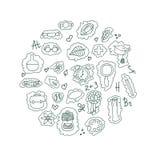Teste padrão de volta à escola doodle Vetor Fotografia de Stock Royalty Free