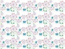 Teste padrão decorativo das flores cor-de-rosa da mola no fundo branco Fotografia de Stock