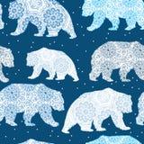 Teste padrão decorativo do Natal sem emenda com urso polar ilustração royalty free