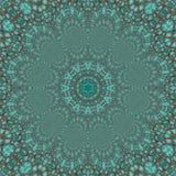 Teste padrão decorativo dos círculos do fractal azul de turquesa foto de stock