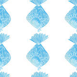 Teste padrão decorativo dos peixes da aquarela Imagens de Stock