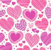 Teste padrão decorativo romântico de Rosa com corações. Fundo bonito sem emenda Imagens de Stock Royalty Free