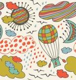 Teste padrão decorativo sem emenda com nuvens, overcasts, sol, lua, pássaros e balão. Fundo com elementos do céu ilustração royalty free