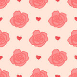 Teste padrão delicado das rosas com as flores grandes e pequenas Foto de Stock