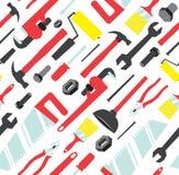 Teste padrão denso sem emenda de ferramentas da mão ilustração stock