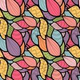 Teste padrão desenhado à mão abstrato com ondas Squ original do livro para colorir Imagens de Stock Royalty Free