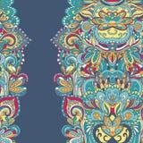 Teste padrão desenhado à mão abstrato da beira seamless Fotos de Stock Royalty Free