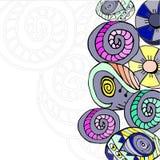 teste padrão desenhado à mão abstrato dos círculos Imagem de Stock Royalty Free
