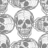 Teste padrão desenhado à mão detalhado do crânio ilustração do vetor