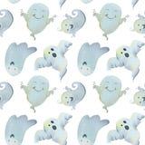 Teste padrão Dia das Bruxas da aquarela com fantasmas do divertimento Halloween feliz ilustração stock