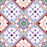Teste padrão, diamantes e quadrados geométricos sem emenda com um incomum ilustração stock