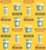 Teste padrão do ícone do fast food Imagens de Stock Royalty Free