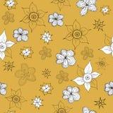 Teste padrão do amarelo da mostarda do vintage Imagem de Stock