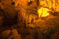 Teste padrão do amarelo de Thien Cung Cave Heavenly Palace Cave fotos de stock royalty free