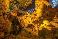Teste padrão do amarelo de Thien Cung Cave Heavenly Palace Cave fotografia de stock royalty free