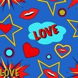 Teste padrão do amor do pop art Imagem de Stock Royalty Free