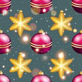 Teste padrão do ano novo com bola Papel de parede do Natal Foto de Stock Royalty Free