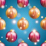 Teste padrão do ano novo com bola Papel de parede do Natal Imagens de Stock Royalty Free