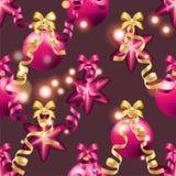 Teste padrão do ano novo com bola Papel de parede do Natal Fotografia de Stock Royalty Free