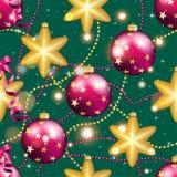 Teste padrão do ano novo com bola Papel de parede do Natal Foto de Stock