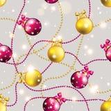 Teste padrão do ano novo com bola Papel de parede do Natal Fotos de Stock Royalty Free