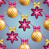 Teste padrão do ano novo com bola Papel de parede do Natal Fotos de Stock