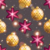 Teste padrão do ano novo com bola Papel de parede do Natal Fotografia de Stock